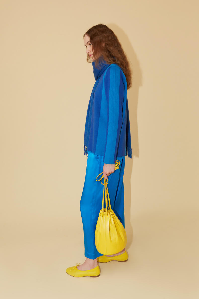 Mansur Gavriel Spring Summer 2019 Lookbook Sweater Pants Blue Bag Yellow