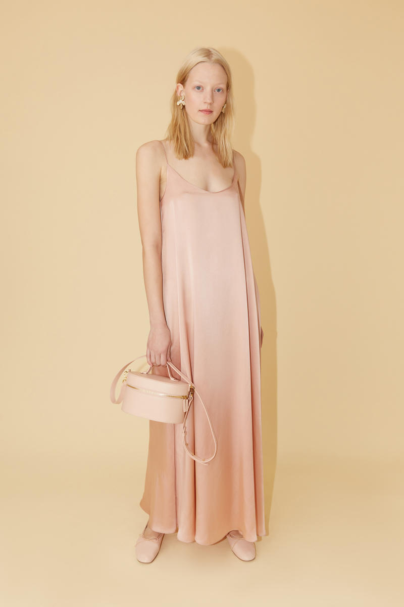 Mansur Gavriel Spring Summer 2019 Lookbook Slip Dress Tan Bag Cream