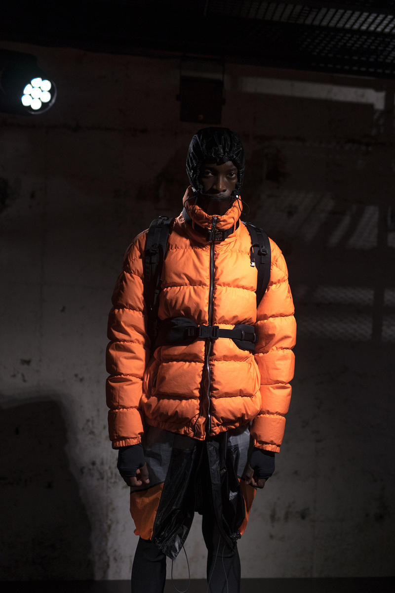 moncler genius milan fashion week presentation alyx matthew williams collaboration orange puffer jacket