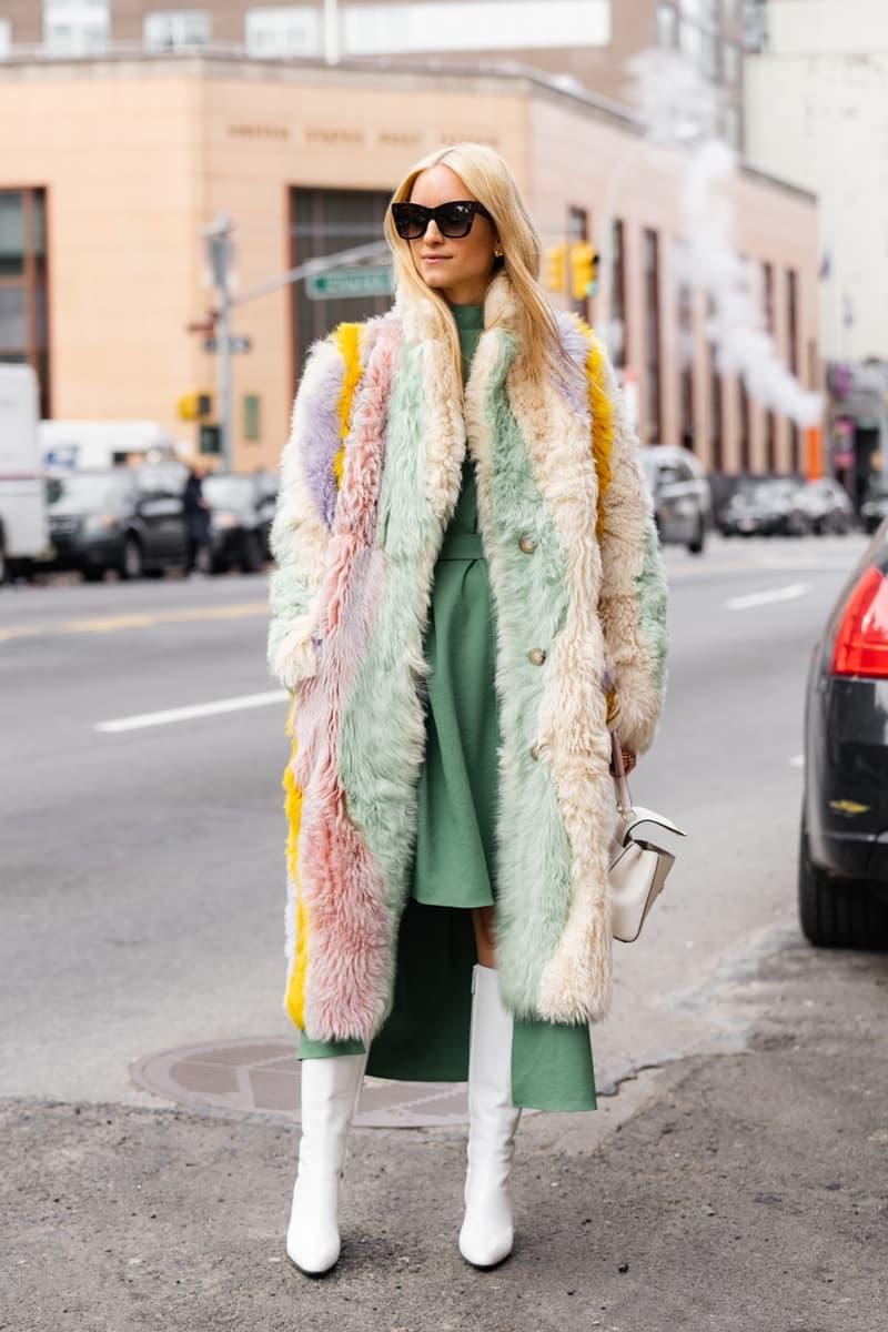 New York Fashion Week Fall Winter 2019 Street Style Snaps Coat Cream Pink Green