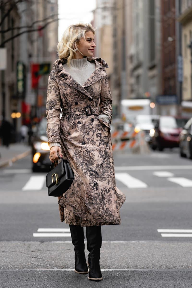 New York Fashion Week Fall Winter 2019 Street Style Snaps Snakeskin Coat Brown Cream