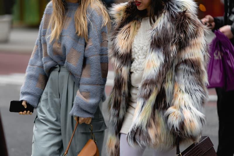New York Fashion Week Fall Winter 2019 Street Style Snaps Sweater Blue Faux Fur Coat Cream Brown