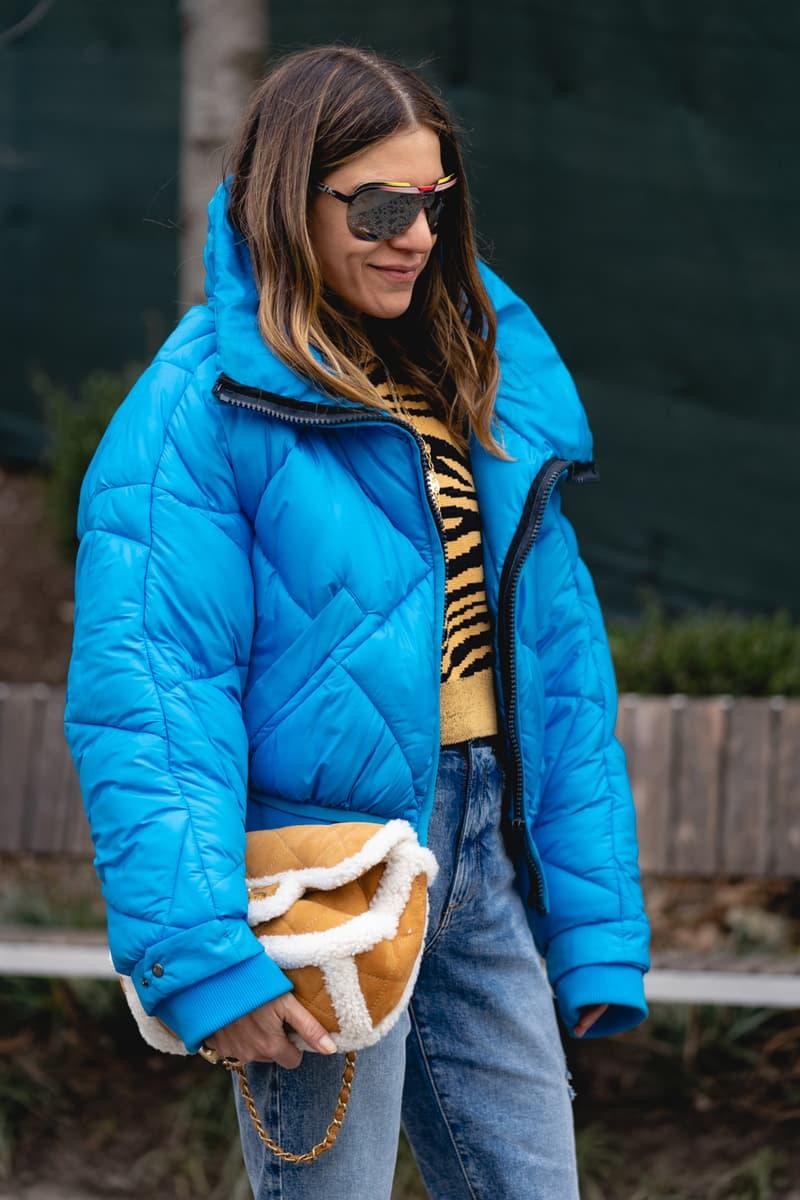 New York Fashion Week Fall Winter 2019 Street Style Snaps Bubble Coat Blue