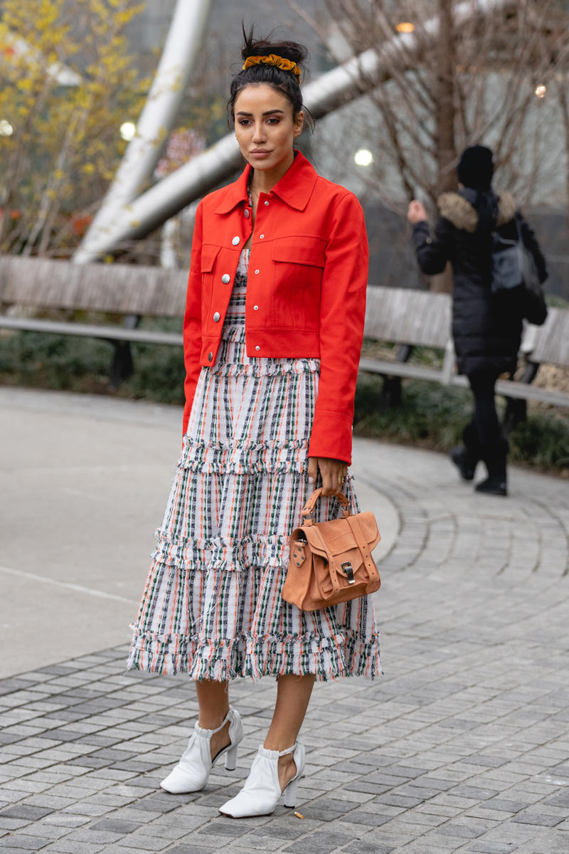 New York Fashion Week Fall Winter 2019 Street Style Snaps Coat Red Floral Skirt Blue White