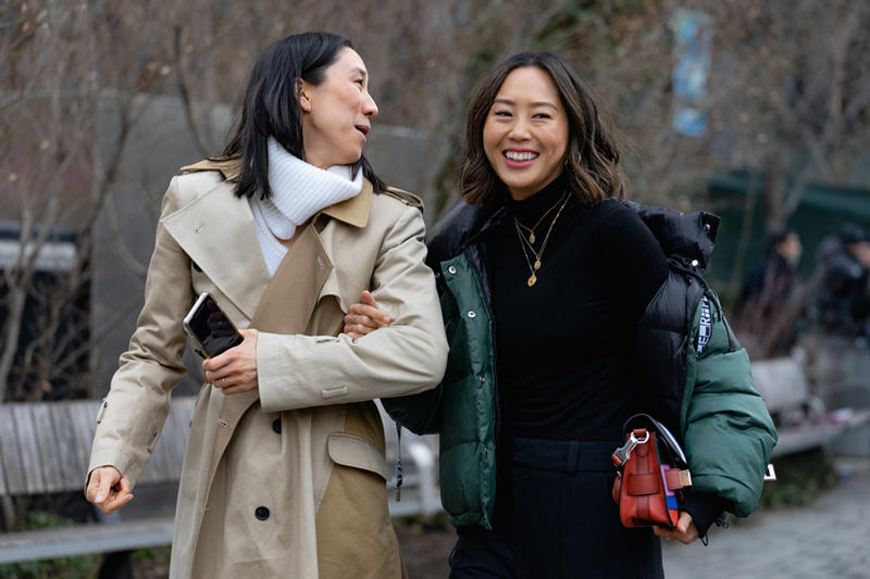 New York Fashion Week Fall Winter 2019 Street Style Snaps Aimee Song Eva Chen Coats Tan Black Green