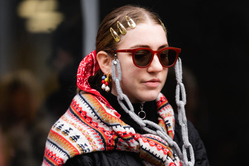 New York Fashion Week Fall Winter 2019 Street Style Snaps Sunglasses Scarf Red