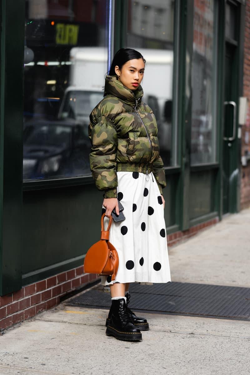 New York Fashion Week Fall Winter 2019 Street Style Snaps Miso Dam Jacket Green Skirt White Black
