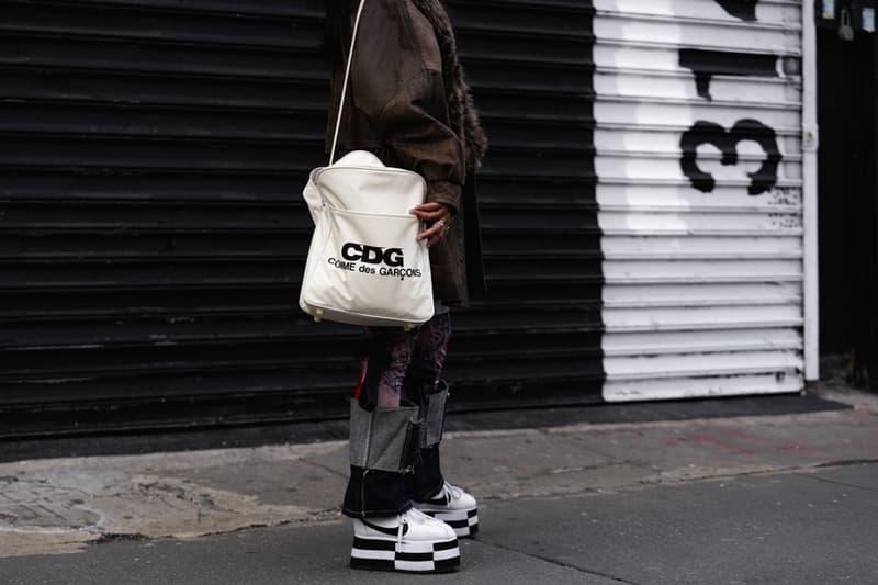 New York Fashion Week Fall Winter 2019 Street Style Snaps COMME DES GARCON x Nike Cortez White