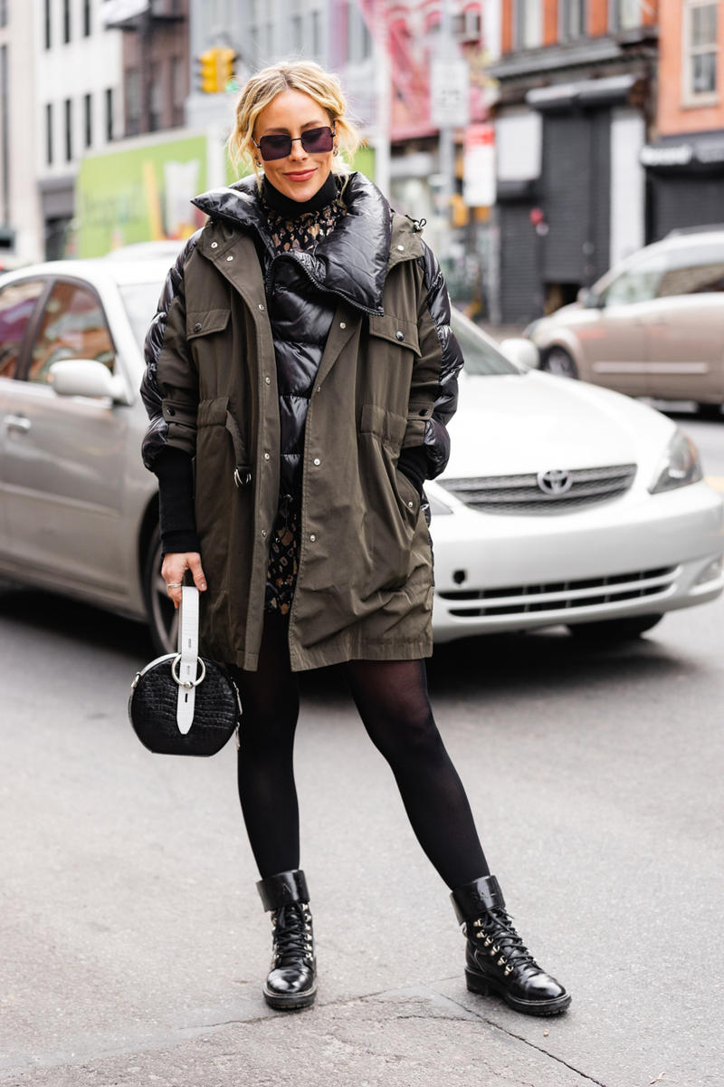 New York Fashion Week Fall Winter 2019 Street Style Snaps Jacket Green Boots Brown