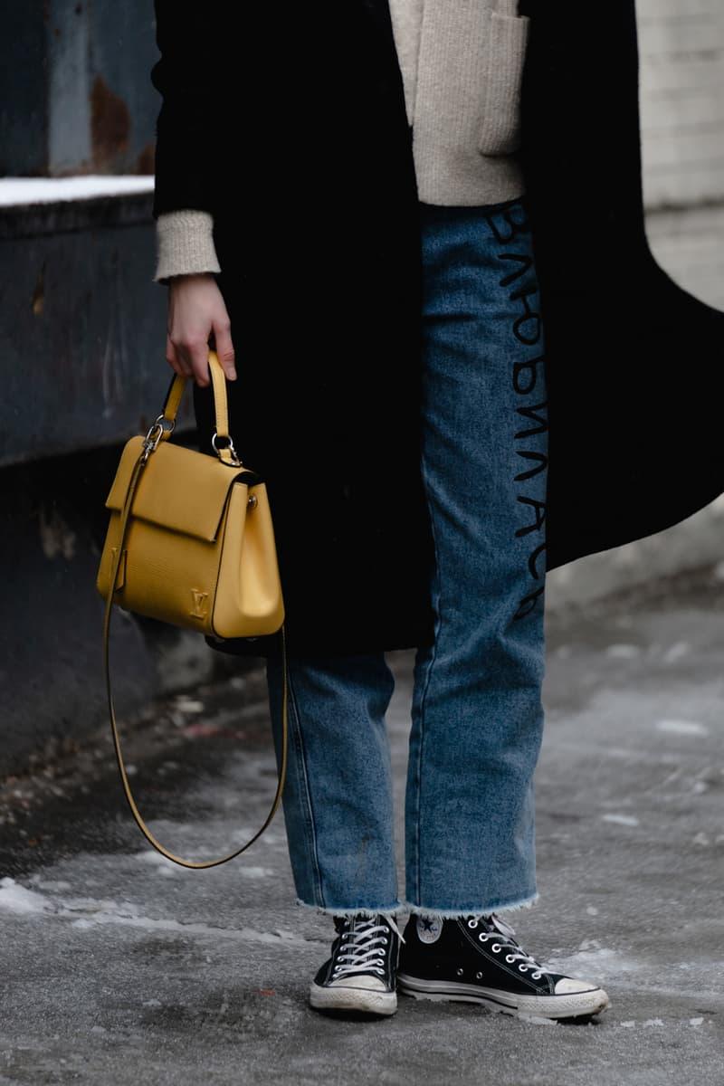 New York Fashion Week Fall Winter 2019 Street Style Snaps Bag Louis Vuitton Yellow Coat Sneakers Black