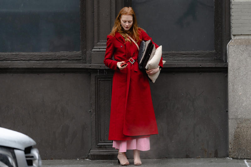 New York Fashion Week Fall Winter 2019 Street Style Snaps Coat Red