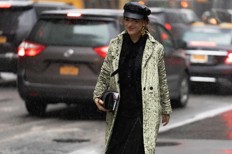 New York Fashion Week Fall Winter 2019 Street Style Snaps Coat Green Hat Sweater Black
