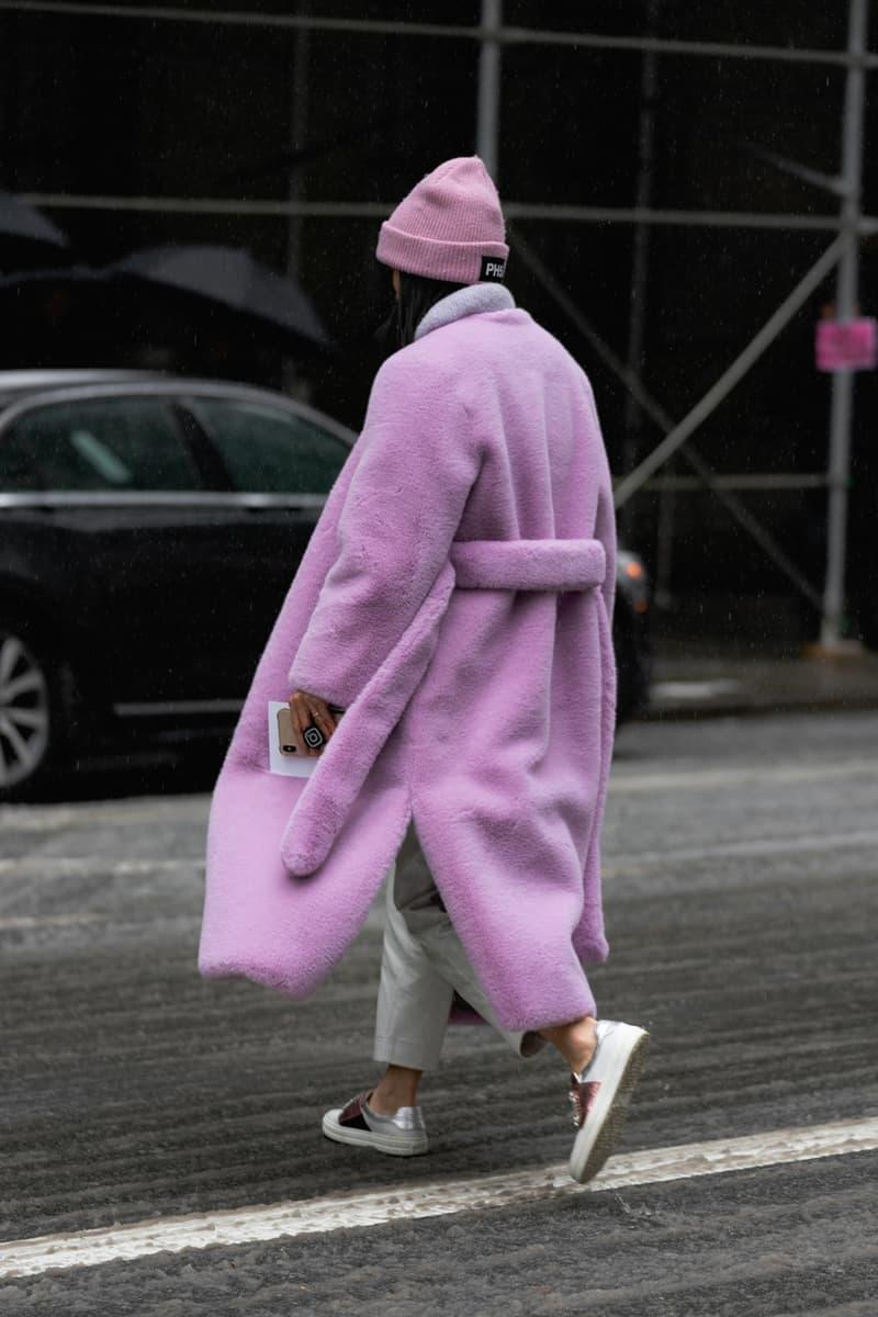 New York Fashion Week Fall Winter 2019 Street Style Snaps Coat Purple