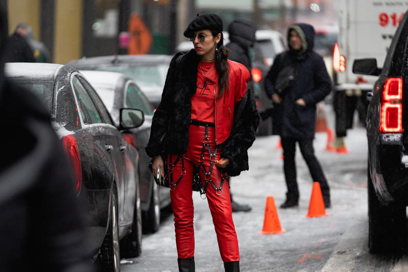 New York Fashion Week Fall Winter 2019 Street Style Snaps Coat Pants Red
