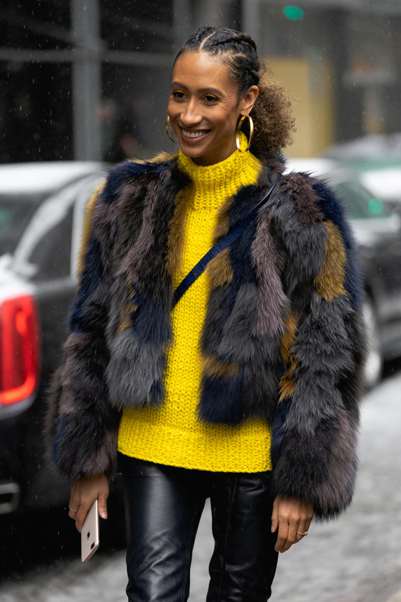 New York Fashion Week Fall Winter 2019 Street Style Snaps Elaine Welteroth Sweater Yellow Jacket Black Brown