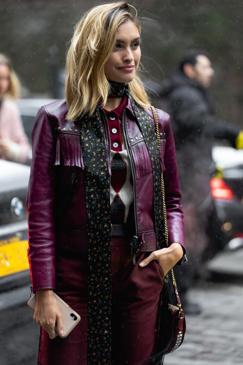 New York Fashion Week Fall Winter 2019 Street Style Snaps Jacket Purple Black