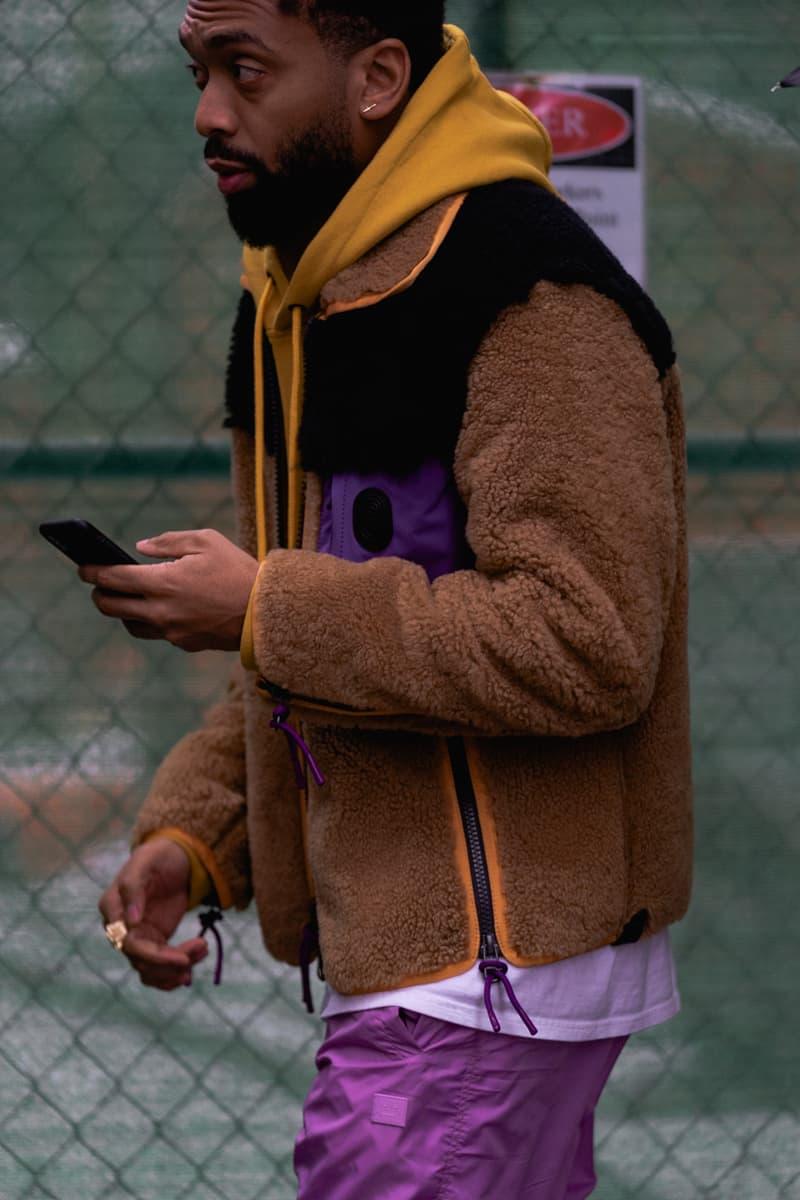 New York Fashion Week Fall Winter 2019 Street Style Snaps Kerby Jean Raymond Pyer Moss Coat Brown Hoodie Yellow