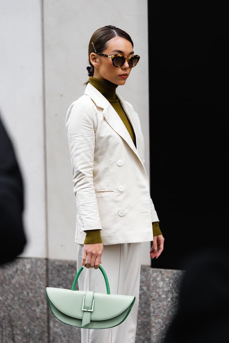 New York Fashion Week Fall Winter 2019 Street Style Snaps Coat White Bag Green