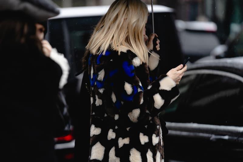 New York Fashion Week Fall Winter 2019 Street Style Snaps Coat Blue Black Cream