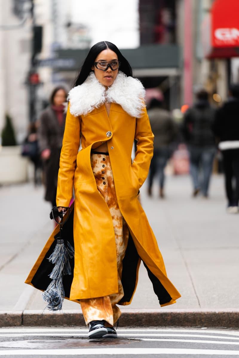New York Fashion Week Fall Winter 2019 Street Style Snaps Aleali May Coat Brown White