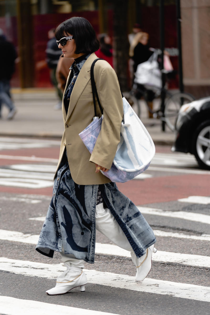 New York Fashion Week Fall Winter 2019 Street Style Snaps Coat Brown Pants Blue Boots White