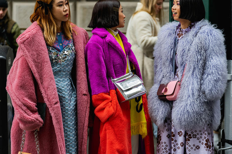 new york fashion week nyfw fall winter 2019 fw19 street style bloggers influencers furry coats pink purple
