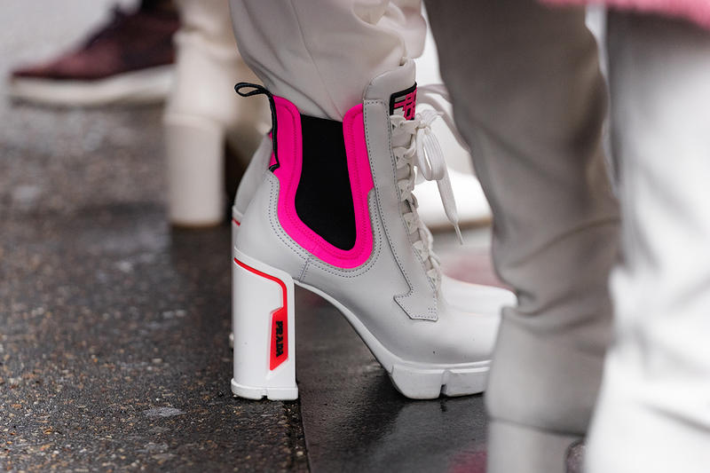 new york fashion week nyfw fall winter 2019 fw19 street style bloggers influencers prada white pink boots