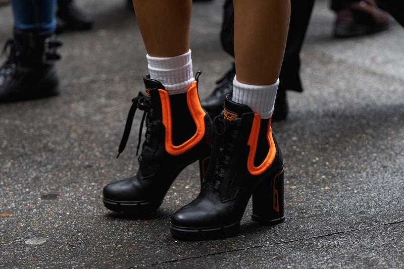new york fashion week nyfw fall winter 2019 fw19 street style bloggers influencers prada orange black boots