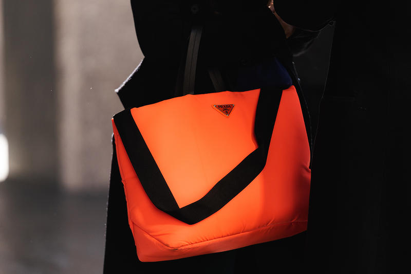 new york fashion week nyfw fall winter 2019 fw19 street style prada orange neon bag