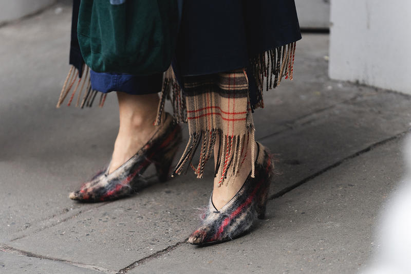 new york fashion week nyfw fall winter 2019 fw19 street style bloggers influencers celine phoebe philo plaid fuzzy high heels pumps
