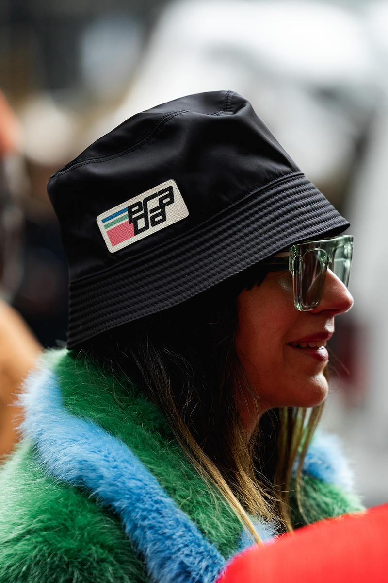 new york fashion week nyfw fall winter 2019 fw19 street style blogger influencer prada logo bucket hat