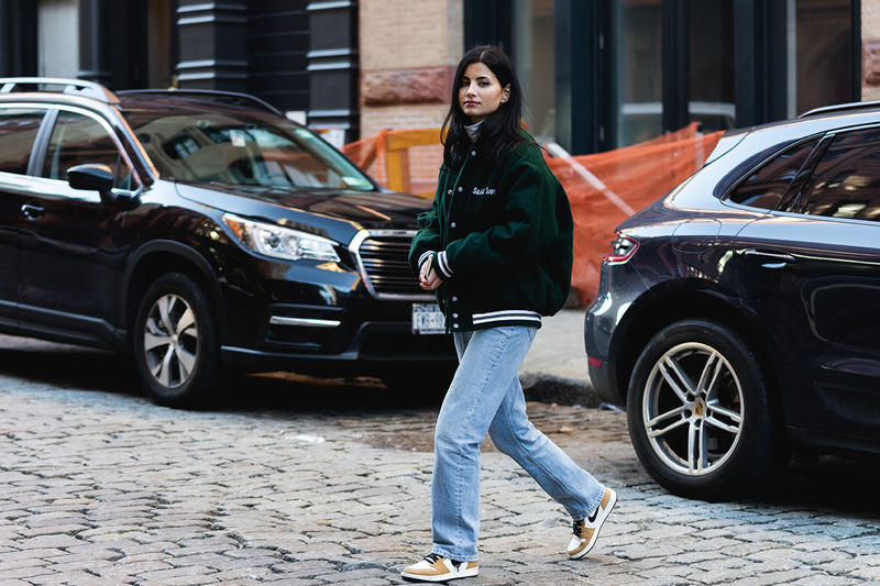 new york fashion week nyfw fall winter 2019 fw19 street style blogger influencer saint ivory jacket jeans nike air jordan sneakers
