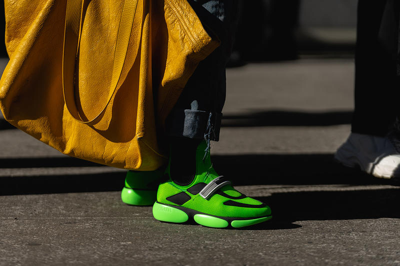 new york fashion week nyfw fall winter 2019 fw19 street style prada cloudbust sneakers green neon
