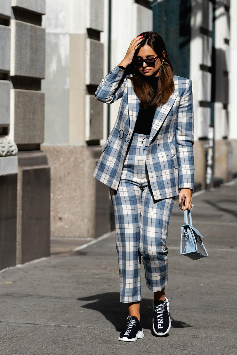 new york fashion week nyfw fall winter 2019 fw19 street style blogger influencer prada logo sneakers blazer suit plaid