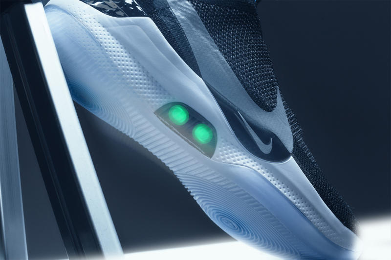 nike self lacing adapt bb reflective silver photo blue basketball shoe sneaker technology