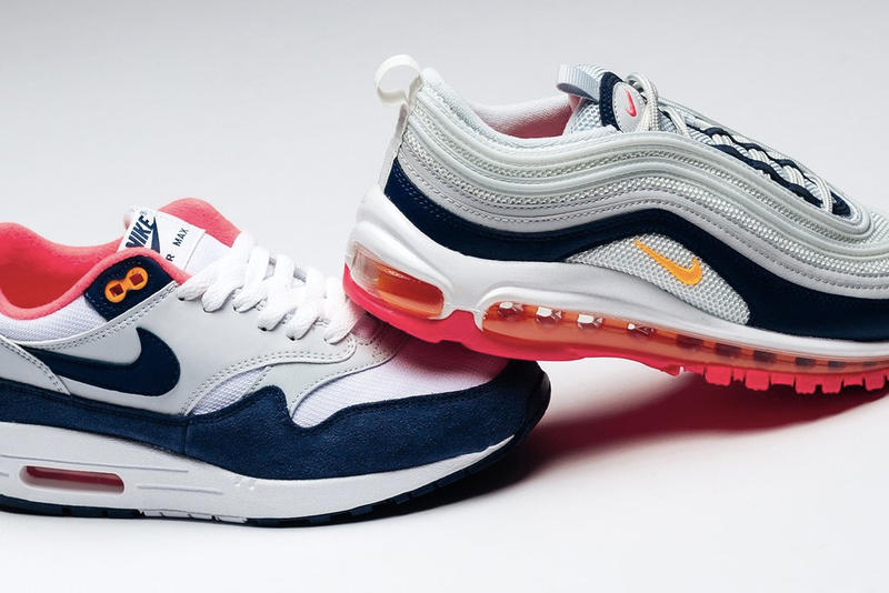 "Nike Air Max 1 Air Max 97 ""Laser Orange"" Pack Fashion Feature Sneaker Boutique Navy Blue Grey Air Max Day"