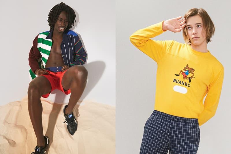 NOAH Spring Summer 2019 Lookbook Sweater Yellow Shorts Blue