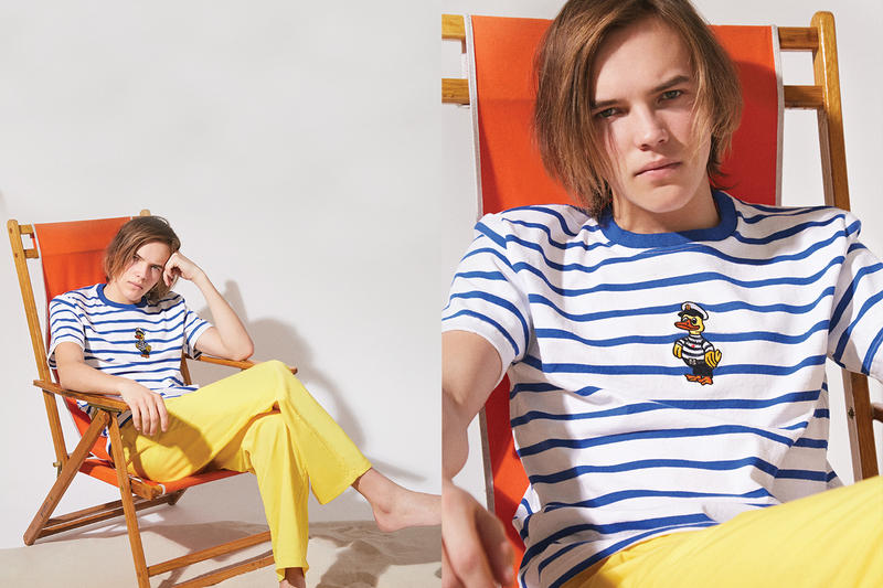 NOAH Spring Summer 2019 Lookbook Top White Blue Pants Yellow