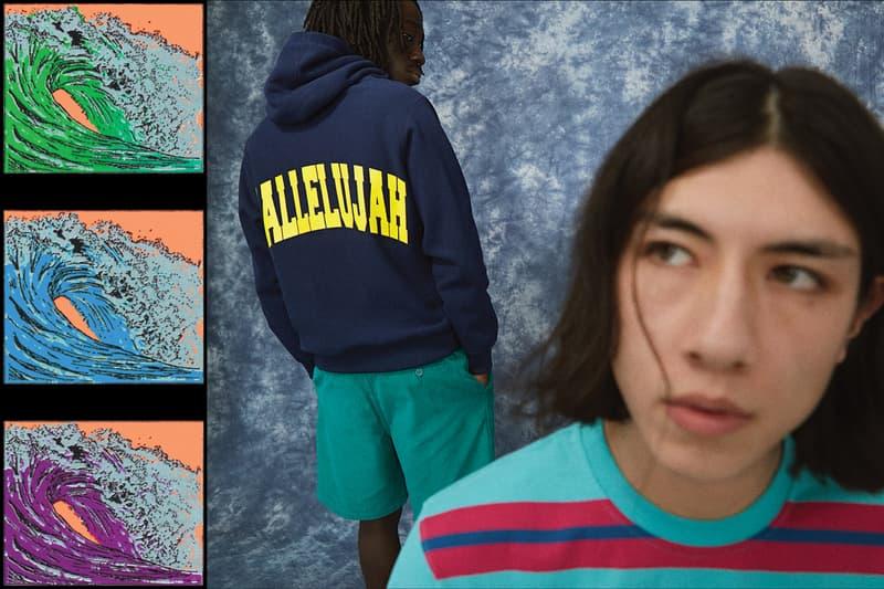 NOAH Spring Summer 2019 Lookbook Hoodie Navy T-shirt Teal Pink
