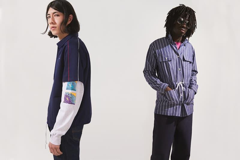 NOAH Spring Summer 2019 Lookbook T-shirt Navy Collared Shirt Blue