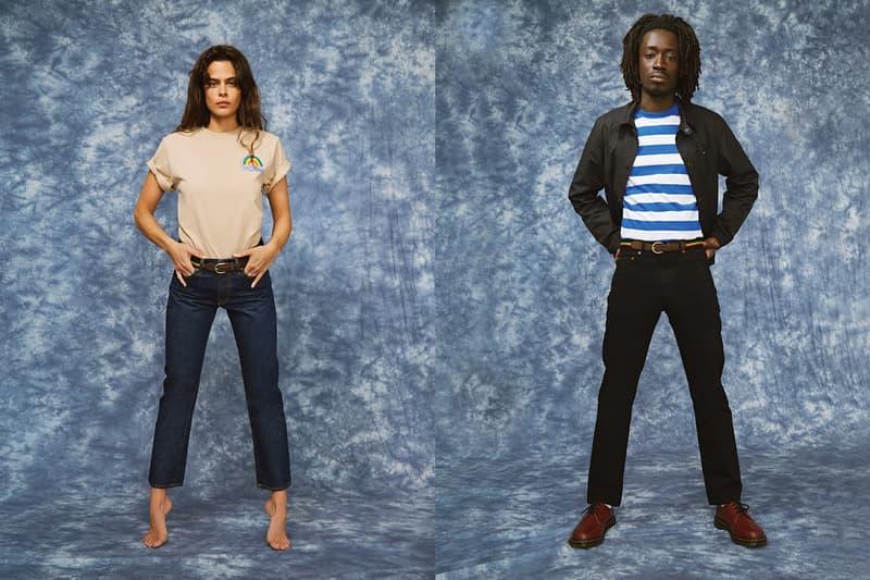 NOAH Spring Summer 2019 Lookbook T-shirt Tan Blue White Pants Black
