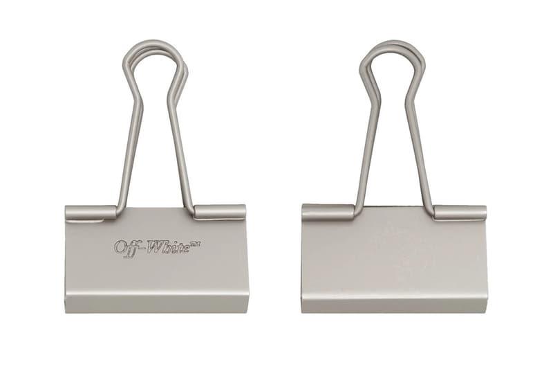 Off-White Binder Clip Keychain Silver