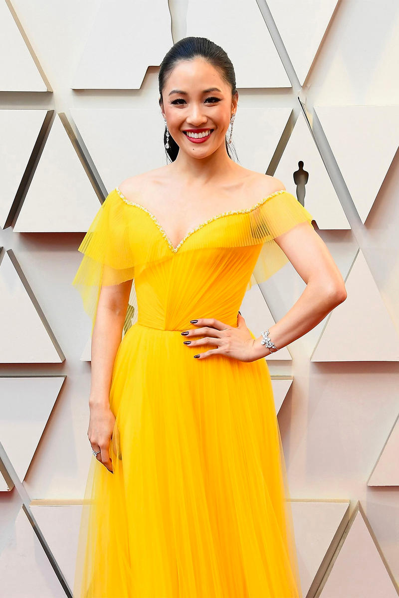 Oscars 2019 91st Academy Awards Red Carpet Constance Wu Crazy Rich Asians Yellow Dress