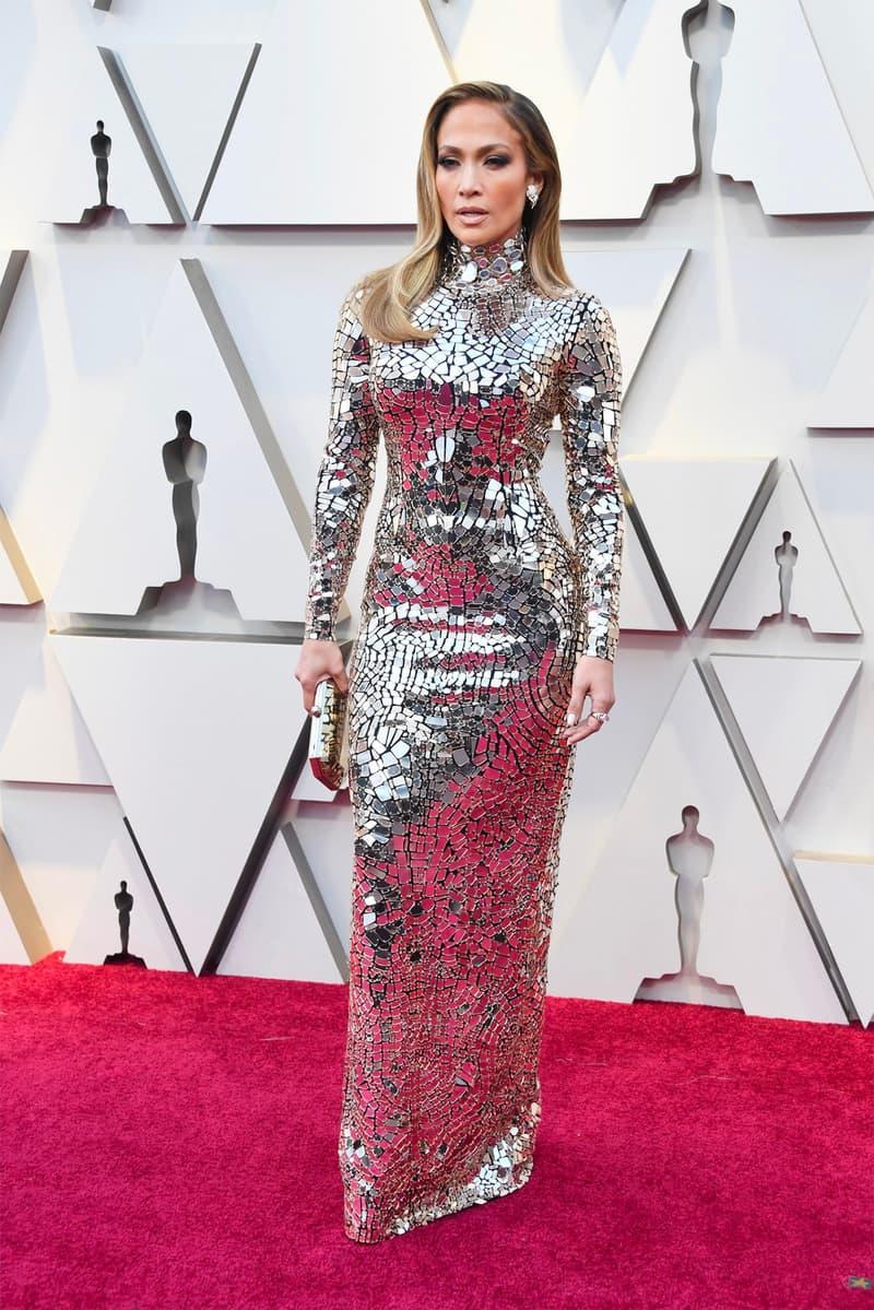 jennifer lopez oscars 91st academy awards red carpet silver dress