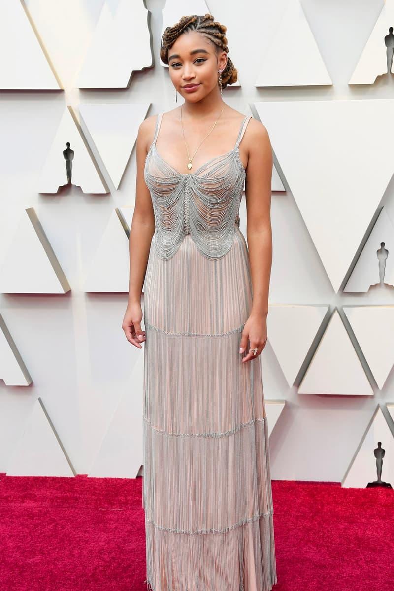Oscars 2019 91st Academy Awards Red Carpet Amandla Stenberg silver dress
