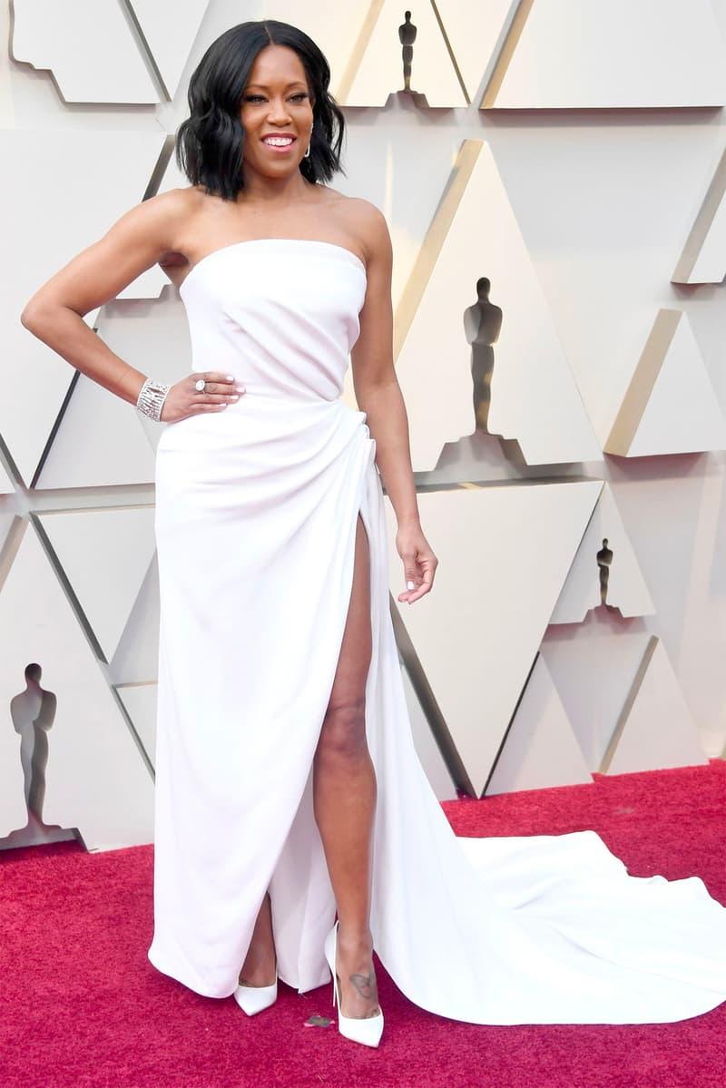Regina King Oscars 2019 91st Academy Awards Red Carpet White Gown Slit