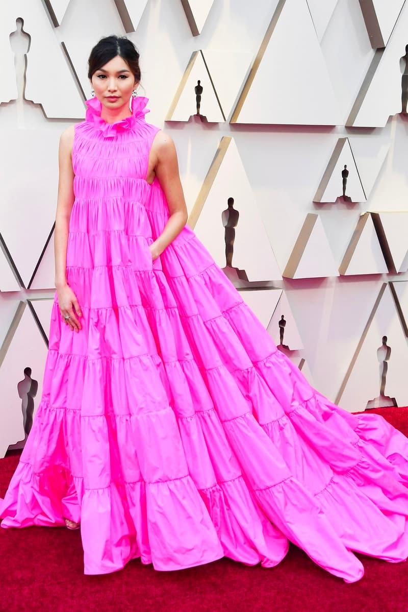 Gemma Chan Crazy Rich Asians Oscars 2019 91st Academy Awards Red Carpet Pink Neon Gown Dress