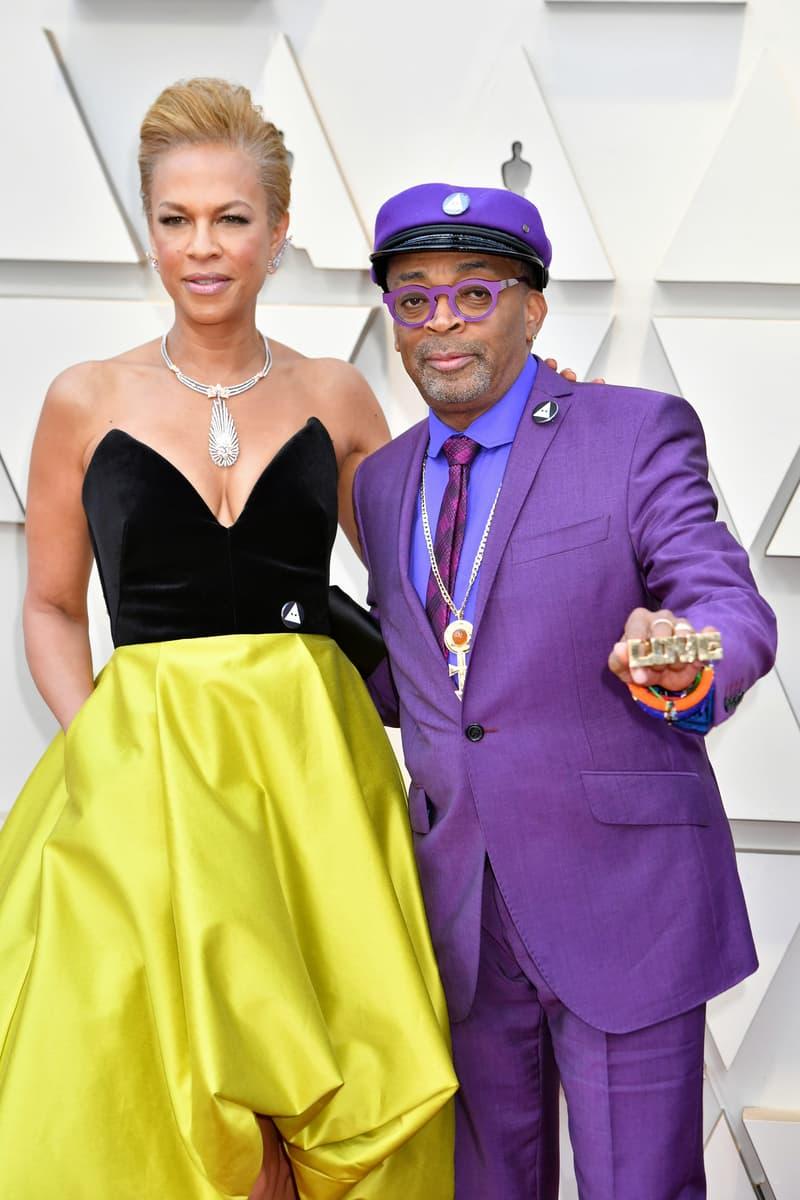 2019 Oscars Red Carpet Spike Ozwald Boateng Suit Purple Tonya Lewis Lee Dress Black Yellow
