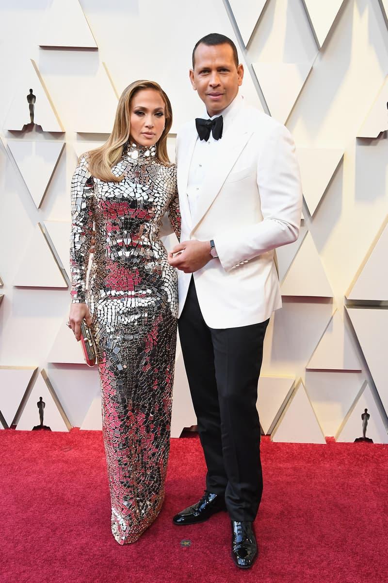 2019 Oscars Red Carpet Jennifer Lopez Tom Ford Dress Silver ARod Tux White Black
