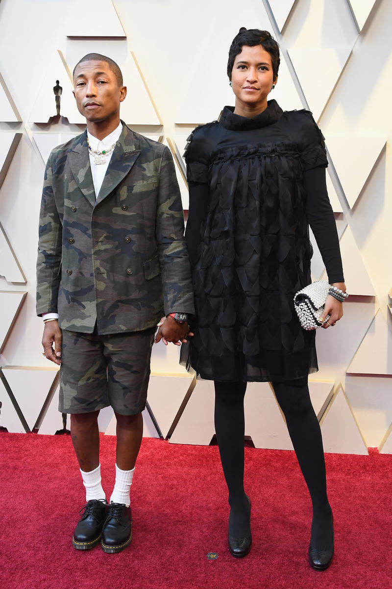 2019 Oscars Red Carpet Pharrell Williams Camouflage Suit Green Black Helen Lasinchanh Dress Black